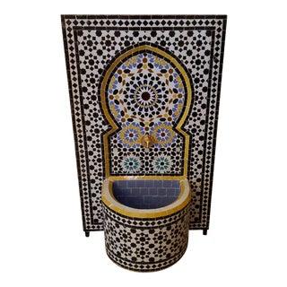 Multicolor Rbatia Style Moroccan Mosaic Tile Fountain, Black For Sale