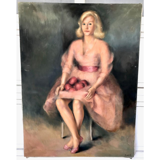 1950s Vintage Buffett Debutante Lady With Apples Oil Painting For Sale In Los Angeles - Image 6 of 6
