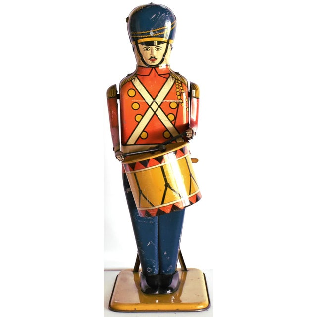 Antique Working Lithograph Tin Wind-Up Toy Drum Major For Sale - Image 11 of 11