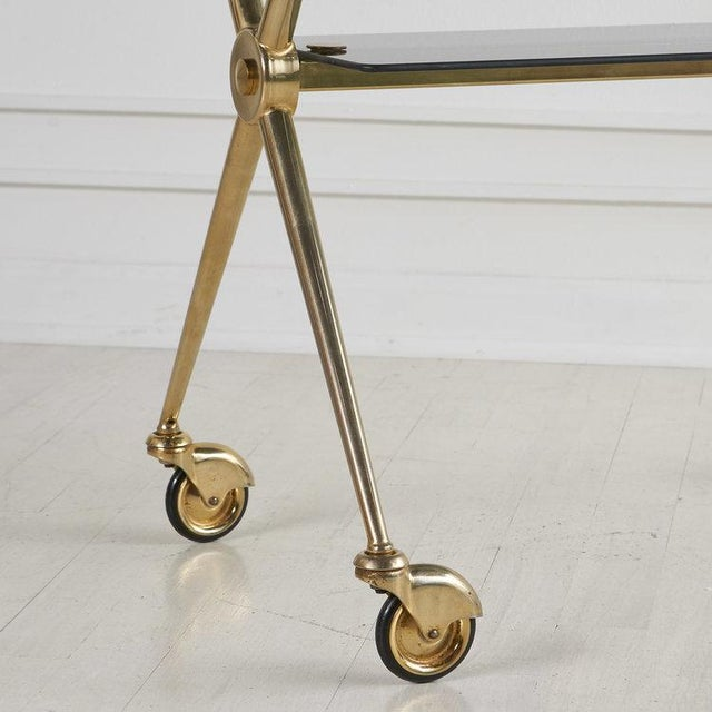 French French Brass and Smoked Glass Rolling Bar Cart For Sale - Image 3 of 6
