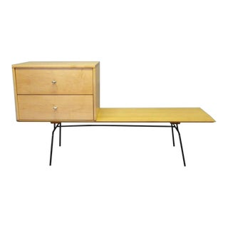 Rare Configuration Paul McCobb Cabinet on Early Iron Base Bench For Sale