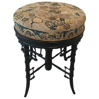 Late Victorian Bamboo Piano/Vanity Stool With Needlepoint, Originally Linda Horn For Sale