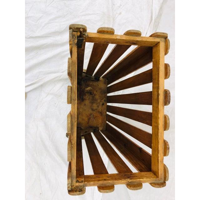 Wood Antique Wooden Slat Rolling Cart For Sale - Image 7 of 8