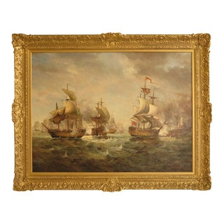 Large Jean Laurent Signed Ship Oil Painting on Canvas For Sale
