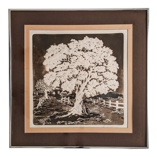 1970's Pressed Etching Landscape Signed by Artist Al Kaufman For Sale