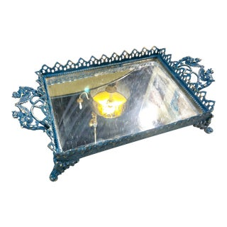 Blue Turkish Style Mirrored Tray For Sale