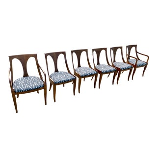 Vintage Kindel Dining Chairs With Silk Ikat Upholstery - Set of 6 For Sale