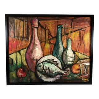 1930s Vintage Swedish Cubist Bottles and Fish Still Life Painting For Sale