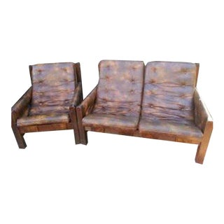 1970s Vintage Naugahyde Vinyl Settee & Lounge Chair - a Pair For Sale
