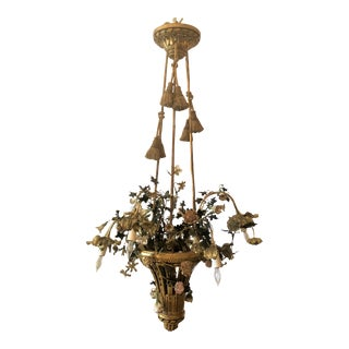 "Unusual Antique Mid 19th Century French ""Marie Antoinette"" Chandelier, Gold Bronze With Porcelain Flowers. For Sale"