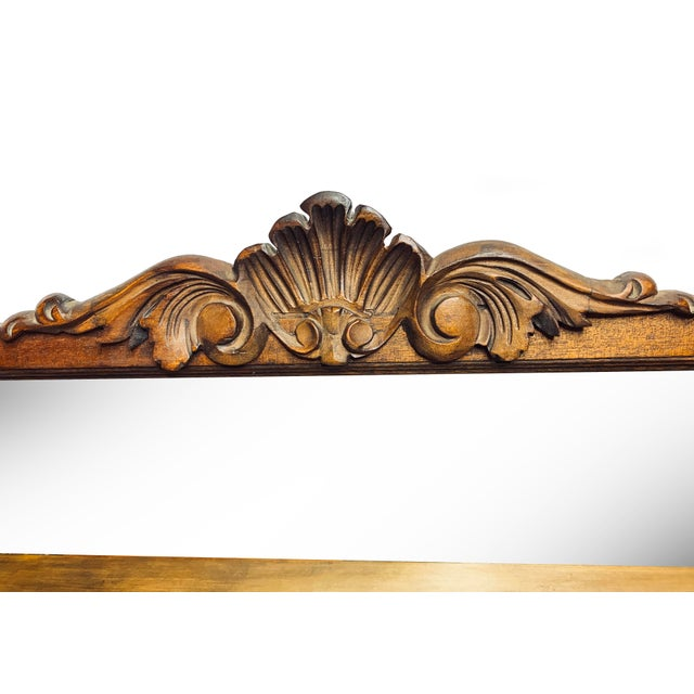 1900s Victorian Hand Crafted Wooden Shelf With Mirrored Back For Sale - Image 4 of 6