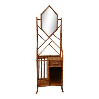 Late 20th Century Burnt Scorched Bamboo Mirror Hall Shelf Etagere For Sale