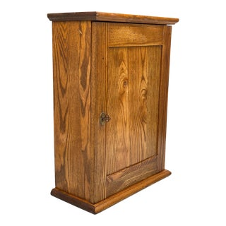 Vintage Farmhouse Oak Free Standing Medicine Cabinet For Sale