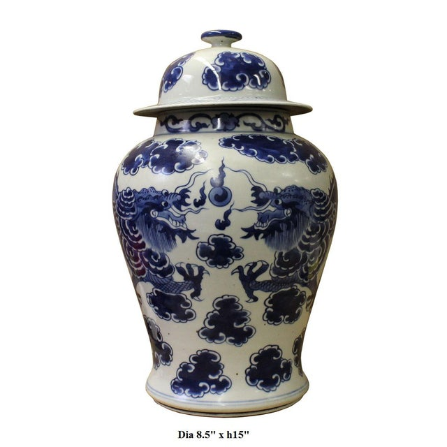 Chinese Blue & White Porcelain Double Dragon Temple General Jar cs2673 - Image 5 of 5