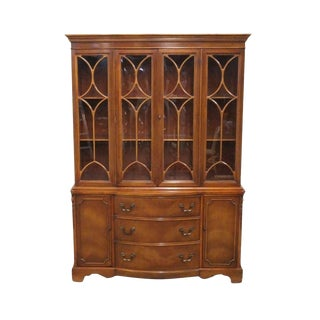 20th Century Traditional Bernhardt Duncan Phyfe Mahogany Bow Front China Cabinet For Sale