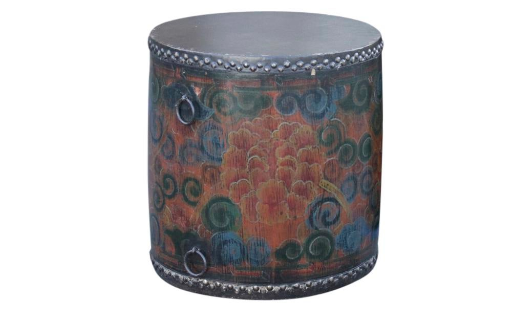 Leather Tibetan Drum Table   Image 2 Of 7 Great Pictures
