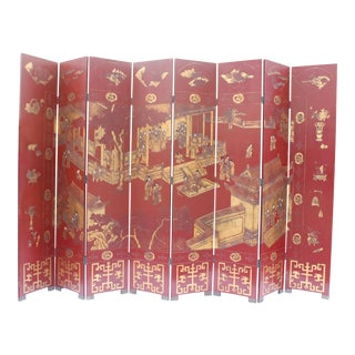 Antique Traditional 8-Panel Red & 24k Gold Asian Screen For Sale