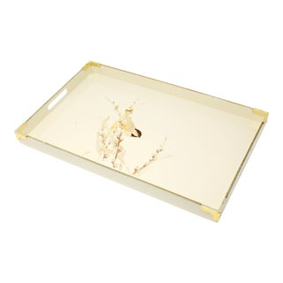 Vintage MCM Otagiri Japan Ecru Lacquerware Tray With Brass Accents and Finch on Pussywillow For Sale