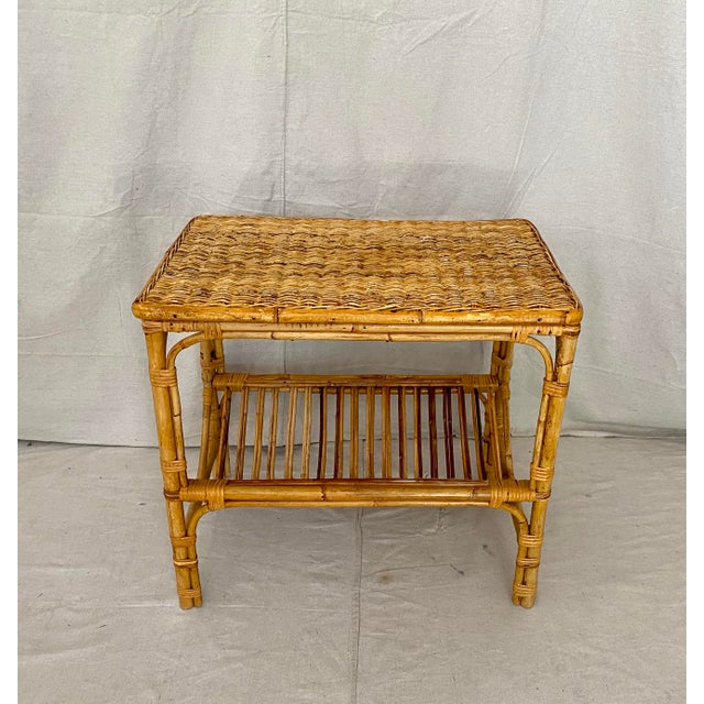 Vintage Rattan Wicker Side Table With Magazine Shelf For Sale In Tampa - Image 6 of 13