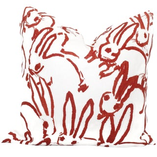 Red Bunny Pillow Cover in Hutch by Lee Jofa
