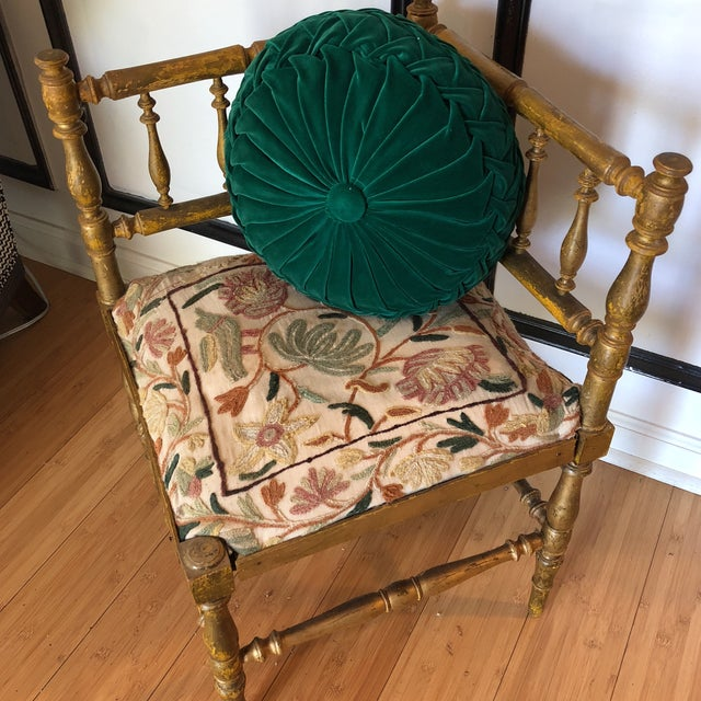 Antique Embroidered Corner Accent Chair - Image 2 of 11