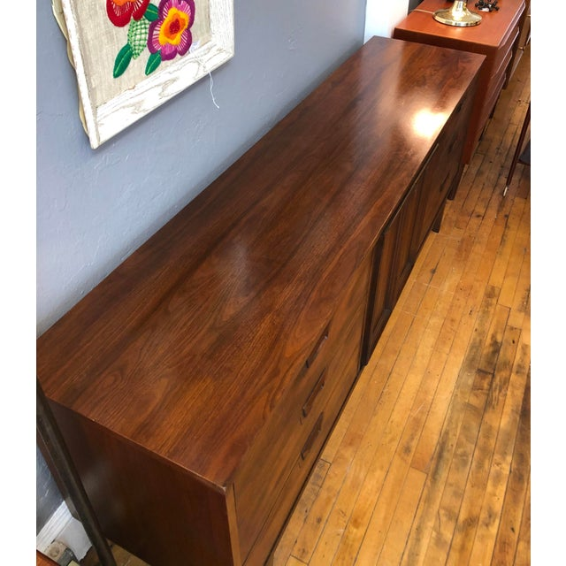 1960s Mid Century Walnut Credenza Style Lowboy Dresser 1960's For Sale - Image 5 of 13