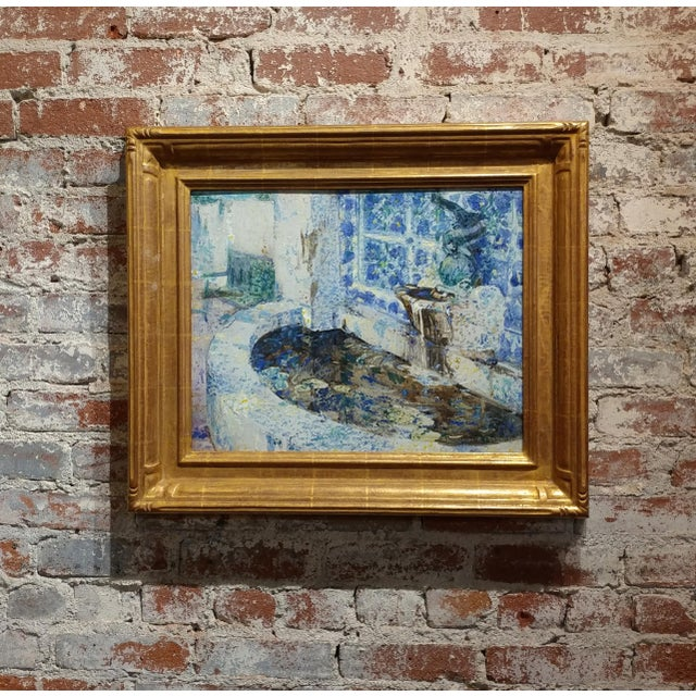 Douglass Parshall - Tiled Fountain -Oil Painting - California Impressionist For Sale - Image 10 of 10