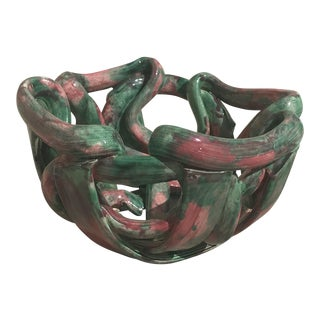 Vintage Green And Pink Abstract Ceramic Bowl For Sale