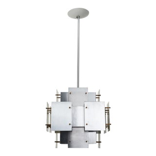 Satin Steel Floating Panel Chandelier by Robert Sonneman For Sale