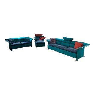 "Italian Modern Chrome & Leather ""Wave"" Sofa Set For Sale"