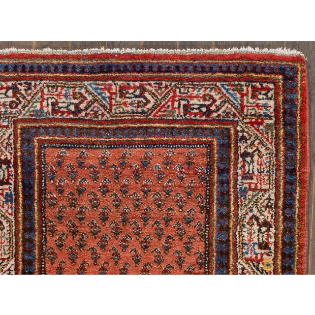 Vintage hand-knotted Persian Hamadan rug with an all over design. This piece has great colors, it would be the perfect...