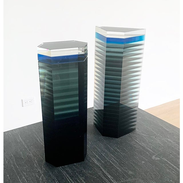 """Unusual pair of 1980s Patrick Curran art glass sculptures entitled """"Linear Towers"""". Curran is a well known American glass..."""
