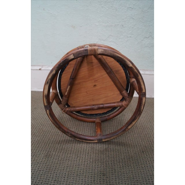 Vintage Round Rattan Bamboo Ottoman Footstool For Sale - Image 7 of 10
