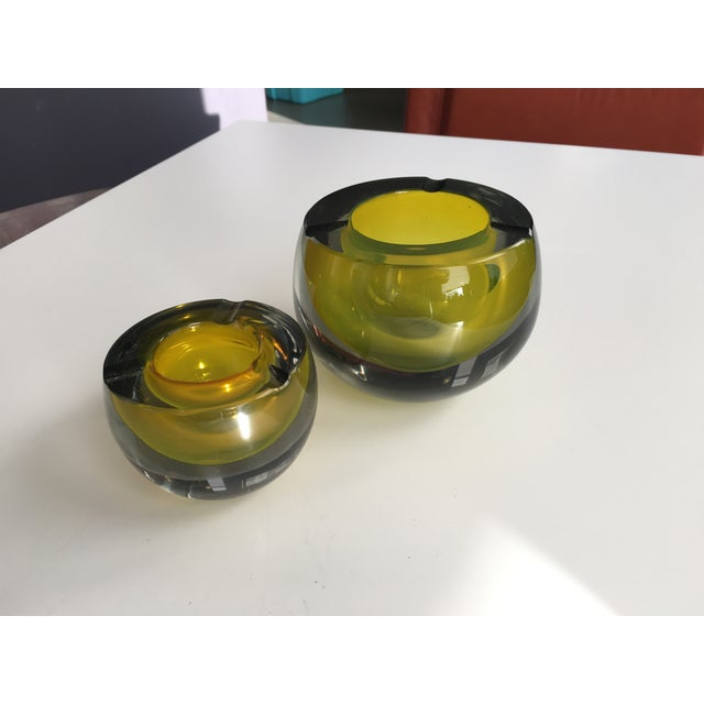 Chartreuse Glass Tea Light Bowls - A Pair - Image 2 of 6
