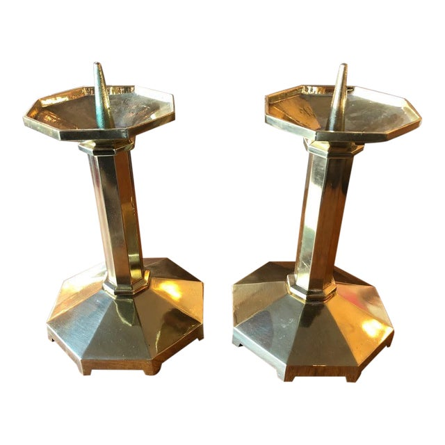 1930s Brass Candlesticks From Germany - a Pair For Sale