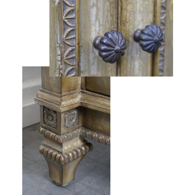 Faux Painted French Style Marble-Top Sideboard with Iron Doors - Image 7 of 10