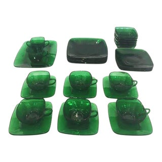 Rare Set of Anchor Hocking Crystal Charm Emerald Green Tea Service for Five For Sale