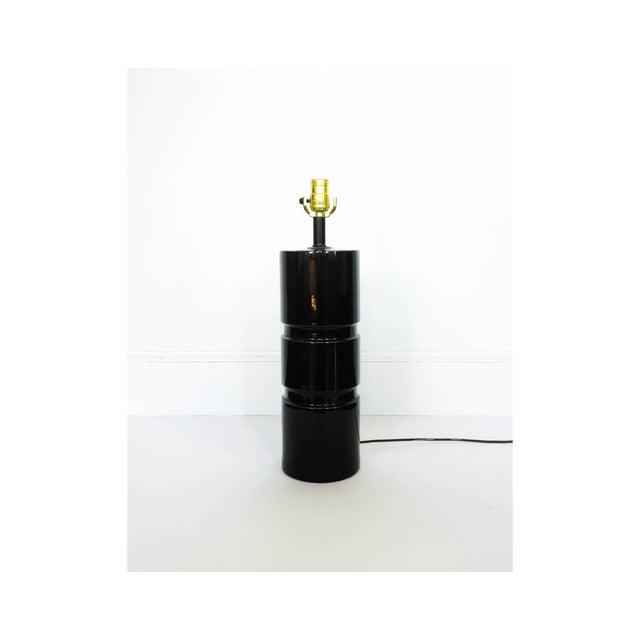 Vintage Black Ceramic Cylinder Lamp - Image 2 of 6