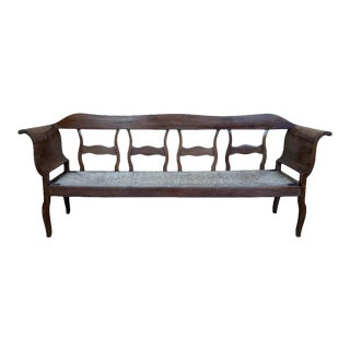 Catalan Bench in Walnut With Caned Seat For Sale