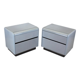 Vintage Grey Lacquered Nightstands - Pair For Sale