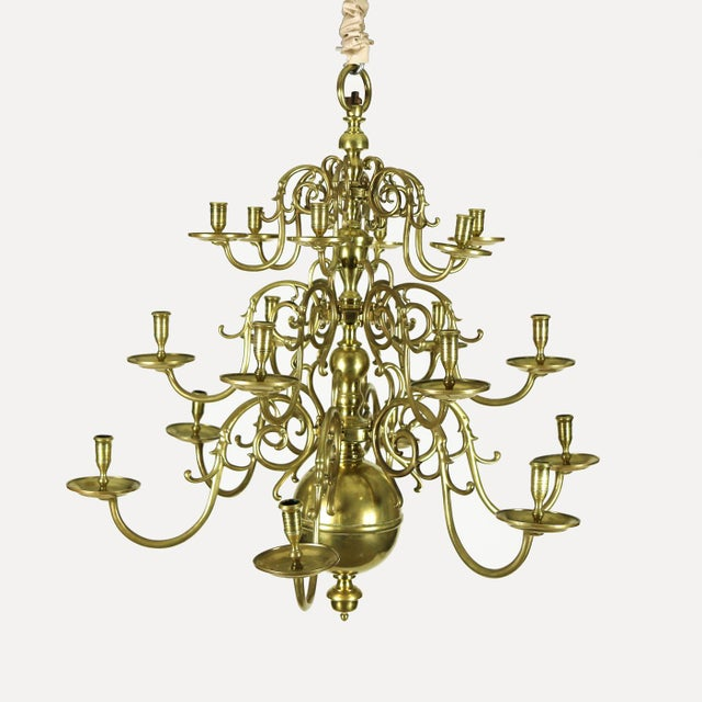 An impressive Dutch Brass triple tier, 18 light Chandelier, circa 1860 with beautifully cast arms, cups and bobeche,...