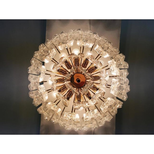 Gold Large Palazzo Frosted Glass Chandelier by JT Kalmar, 1970s For Sale - Image 8 of 11