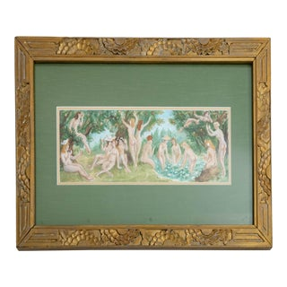 Late 20th Century William Rogers Framed Nudes Bathing Watercolor Painting For Sale