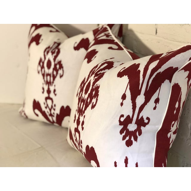 Pair of Red and White Ikat Pillows by Jim Thompson For Sale In Atlanta - Image 6 of 10