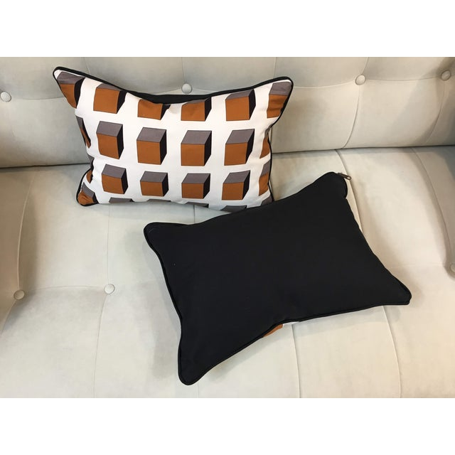Op Art Gaston Y Daniela Lolo Ocre Lumbar Pillows - A Pair For Sale - Image 3 of 5