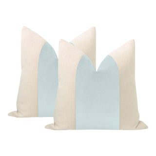 """22"""" Spa Blue Velvet Panel + Linen Pillows - a Pair For Sale"""