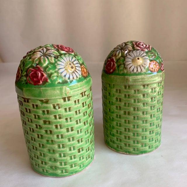 Large Vintage Floral Ceramic Salt & Pepper Shakers, a Pair For Sale - Image 4 of 10