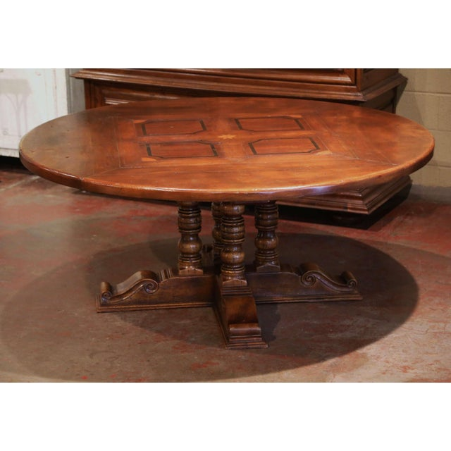 Wood Mid-Century French Carved Walnut Pedestal Round Dining Table With Parquetry Top For Sale - Image 7 of 13