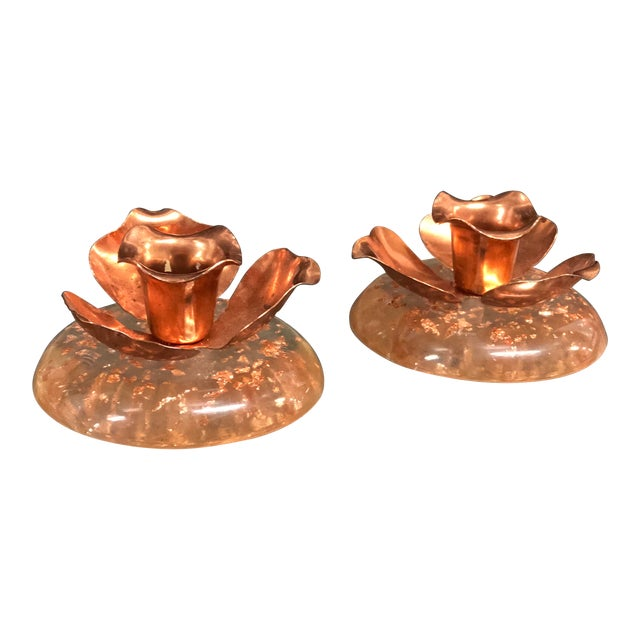 Pair of Copper and Lucite Candle Holders For Sale