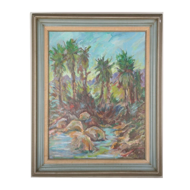 Vintage Original Lanscape of Palm Trees and River - Image 3 of 6
